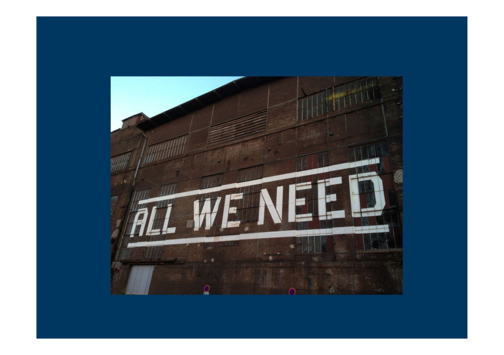 All we need. Belval Hauts-Fourneaux is reviving itself with biotechnology and art. I the context of the data analysis meeting this question is quite provocative. Do we have all we need?
