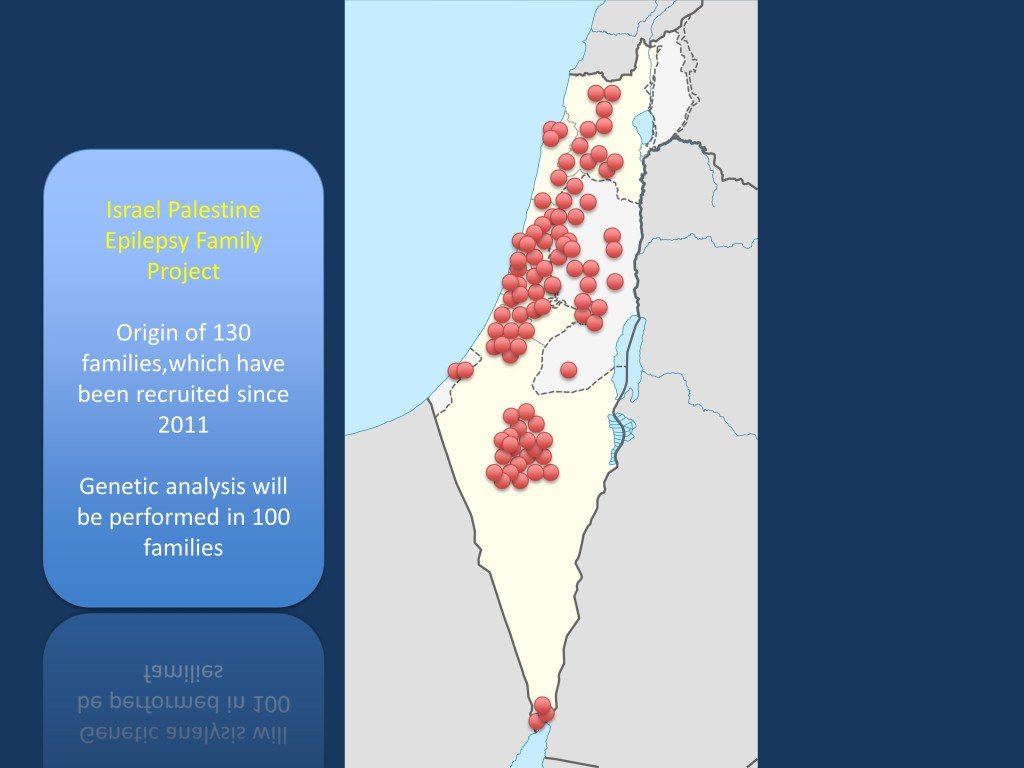 Origin of the 130 families already recruited in the Israel Palestine Epilepsy Family Project. We will perform genetic analysis in 100 families and make the genetic data from these families available for data mining within the epilepsy genetic community.