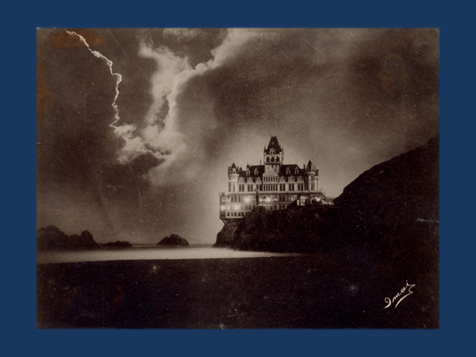 Image of the Cliff House illuminated by lightning, c. 1900. Public domain from https://commons.wikimedia.org/wiki/File:CliffHouseStorm.jpg