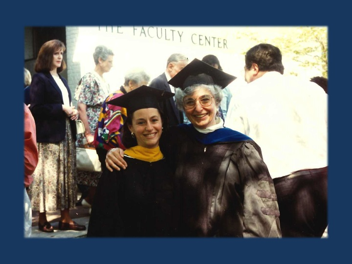 Beth at Brandeis University graduation, with Genetic Counseling Graduate Program Director Judith Tsipis, PhD. This is from 1994 – the first class of genetic counselors to graduate from Brandeis.
