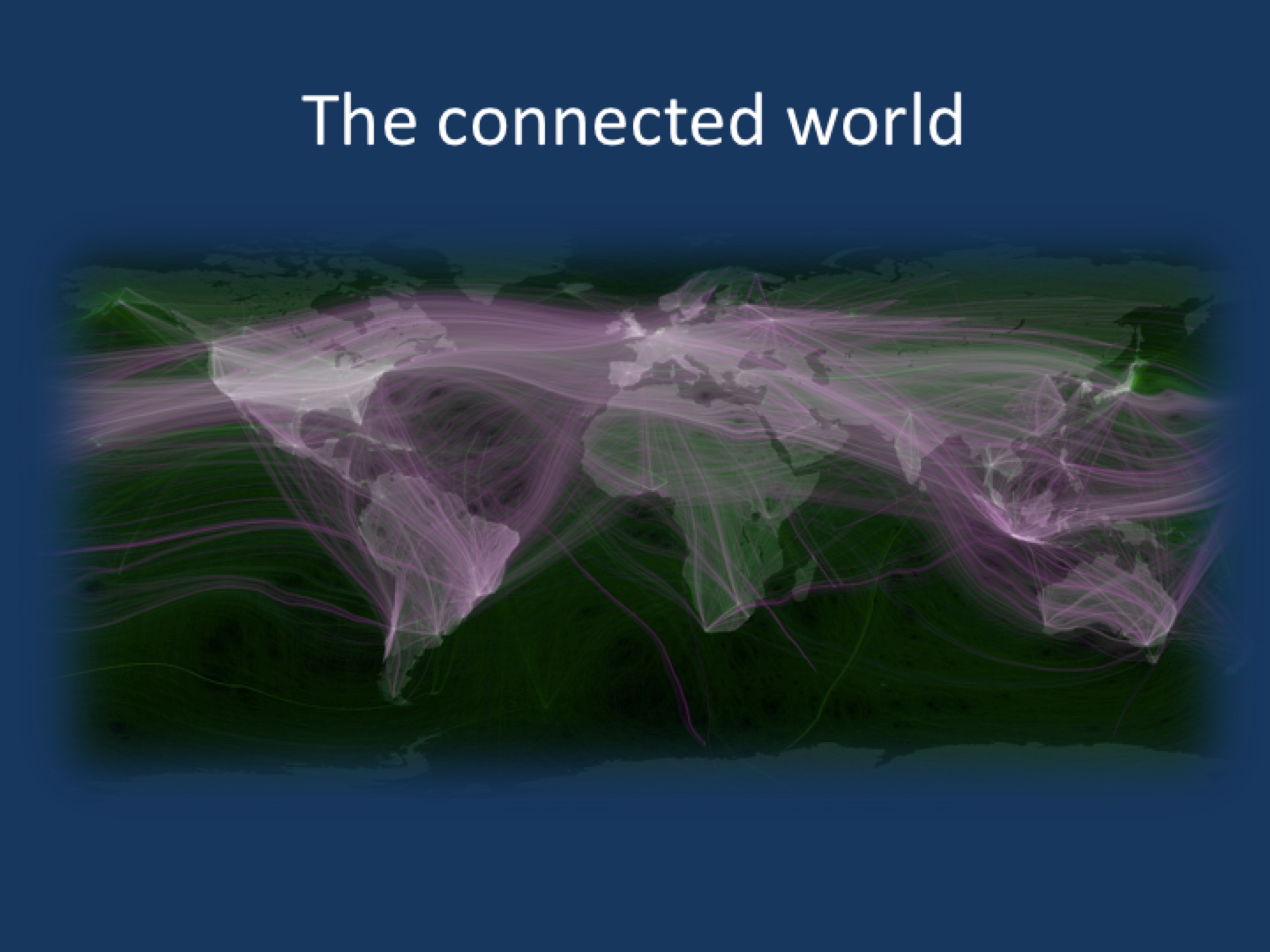 World travel and communications recorded on Twitter. Adapted from Flickr image by Eric Fisher under a CC BY 2.0 licence. Green is physical movement from place to place; purple is @replies from someone in one location to someone in another; combining to white where there is both. Reported trips to Null Island excluded; all other geotags trusted. Endpoints of trips are real data; routes in between are fabricated. Brightness is logarithmic. Data from the Twitter streaming API through September 1, 2011. Continent shapes from Natural Earth. (Image source https://www.flickr.com/photos/walkingsf/6635655755)