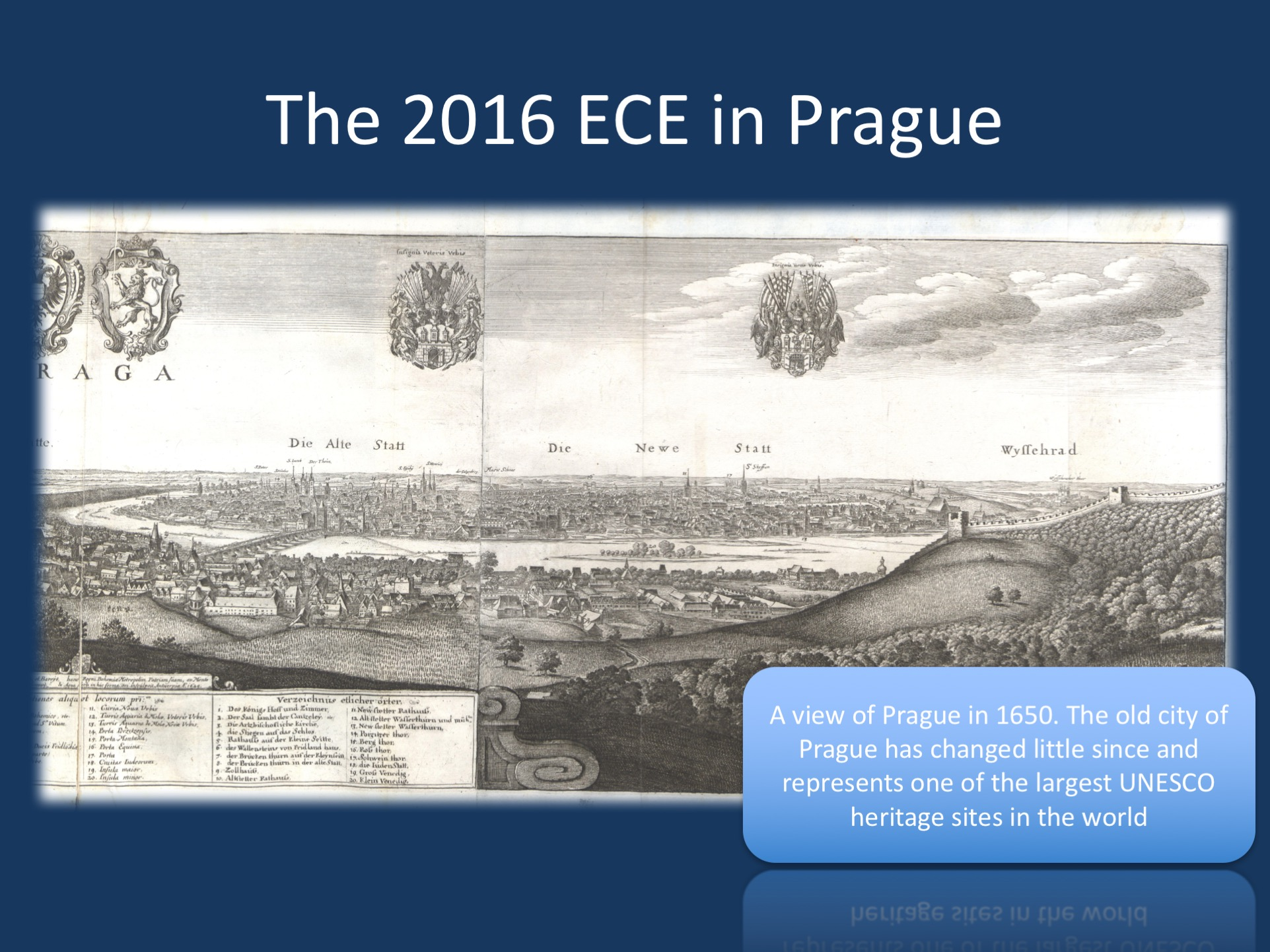 "The 2016 ECE in Prague, Czechia. The current panorama of Prague was drawn in 1650 and shows a view of the city including the Hradčany (Prague Castle), which is the largest castle in Central Europe. Prague is so historical that even terms like Nové Město (New Town, ""Newe Statt"") are misleading – it is new as it was founded by Charles IV (1346–1378), who also founded Charles Univeristy in 1347, one of the oldest universities in the world. My alma mater in Heidelberg was ""only"" founded in 1386. The image is modified from a historical overview called Bohemiae Moraviae et Silesiae (Merian, 1650), available in the public domain. The current reproduction is by Martin Zeiller - digitized by: UB Düsseldorf, Public Domain, https://commons.wikimedia.org/w/index.php?curid=5768465"