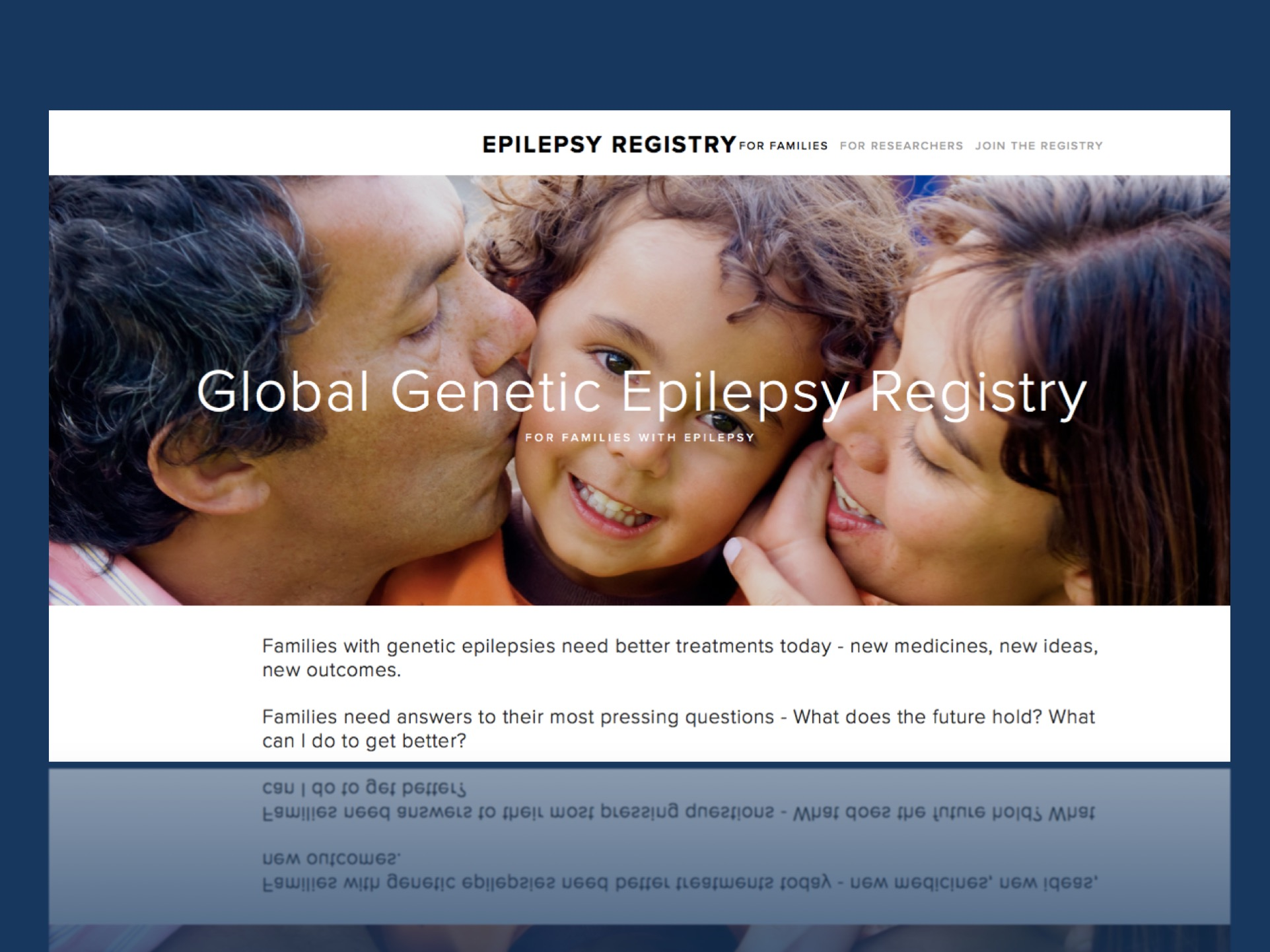 A screenshot of the Global Genetic Epilepsy Registry at http://www.geneticepilepsy.com.